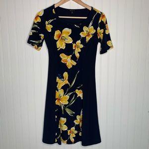 Sami & Jo black yellow floral midi size XS